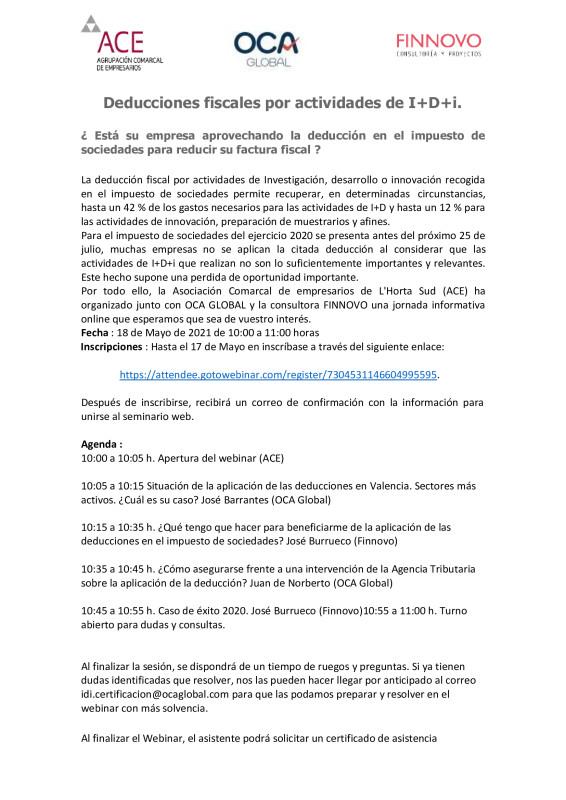 jornada online 18 de mayo reducciones fiscales por actividades de I+d+I